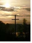 picture of cross and sun set